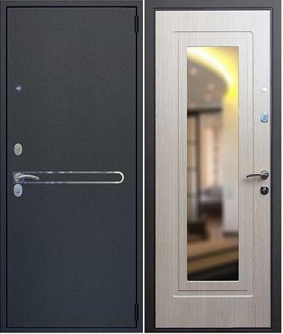 стальная дверь с зеркалом светлый
